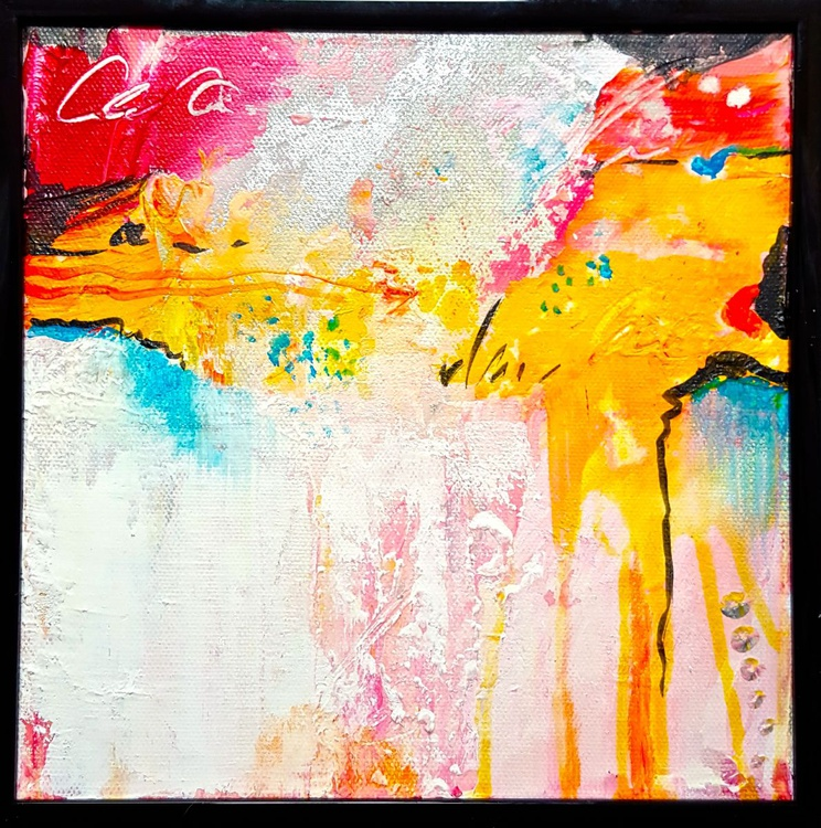 """Small abstract painting on canvas 8""""x8"""" - Image 0"""