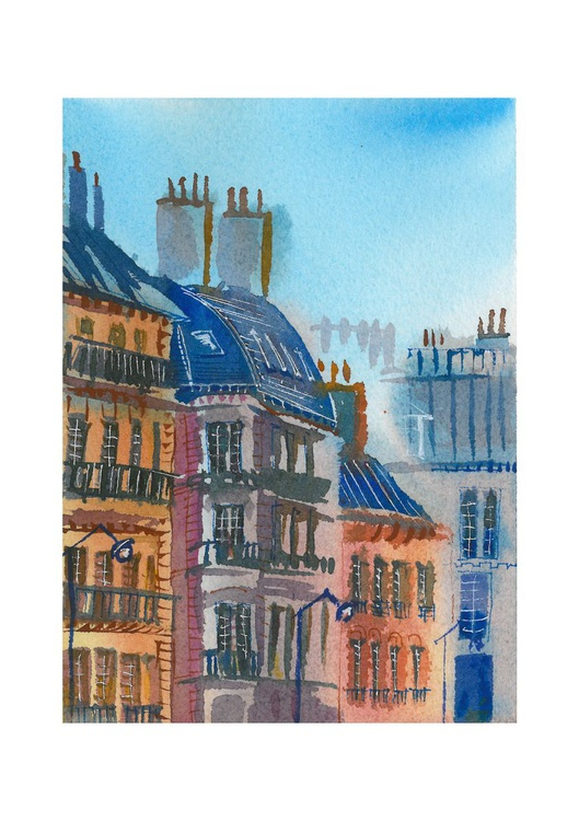 Paris cityscape, original drawing approx. A5 - Image 0