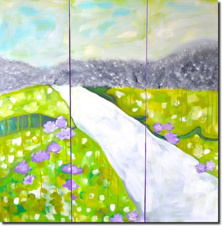 Triptych Blossom Flower art - Image 0