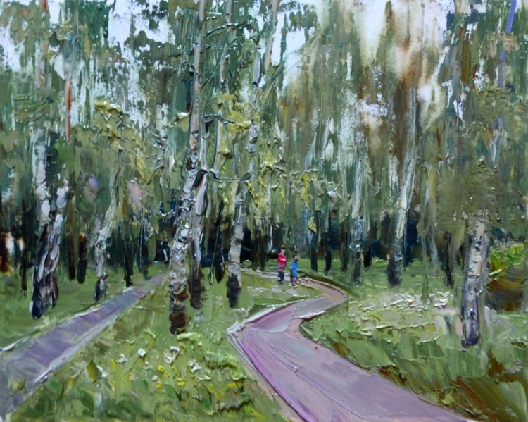 Birch in the Park, oil painting 50x40 cm - Image 0
