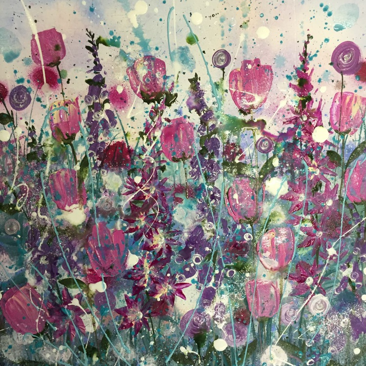 Teal and pink burst - Image 0
