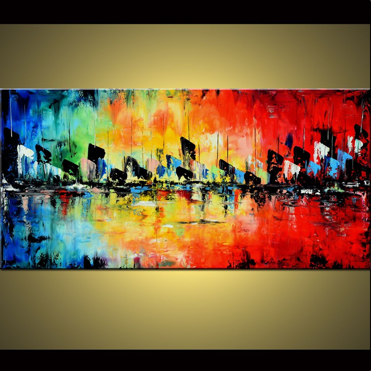 """From Dawn Till Dusk 48"""" Large Abstract Colorful Art Painting, Colorful Original Contemporary modern Blues,Reds, Oranges, Yellow, Green, Turquoise, Pallete Knife - Image 0"""