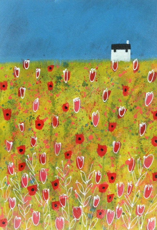 White Cottage with Poppies and Tulips - Image 0