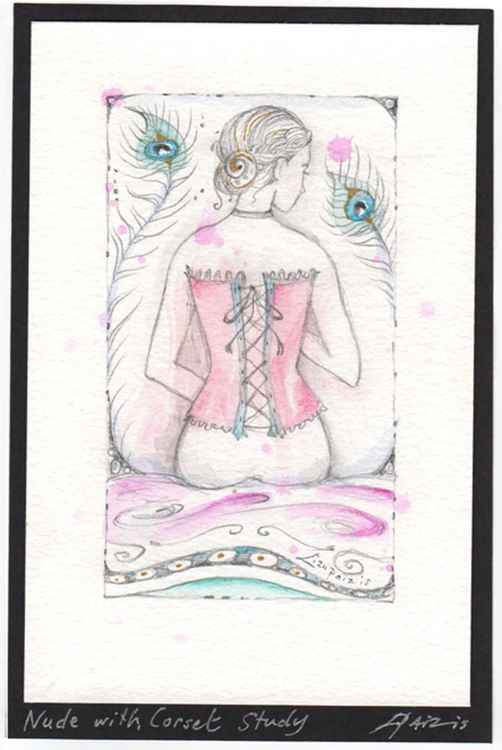 Nude with Corset figure study original watercolour and pencil miniature painting of a woman wearing a corset and peacock feathers