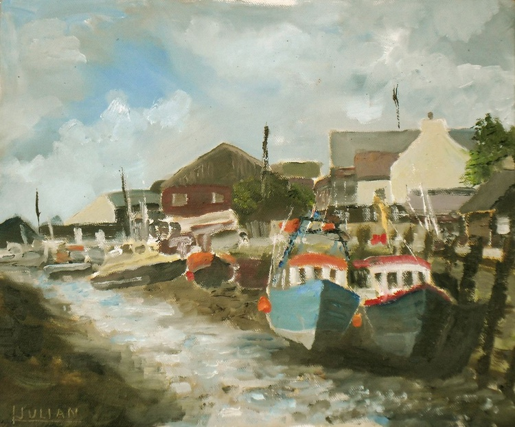 """Waiting for the Tide, Queenborough, Kent An original Oil Painting, Size: 12"""" x 10"""" Lovely - Image 0"""