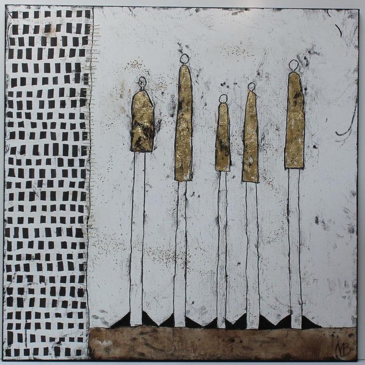 Five Golden Annas with Blocks - Image 0