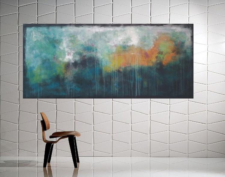 "53x 23,5""( 135x60cm), Spetses Island Landscape,  lansdcape painting , canvas art, home painting - Image 0"