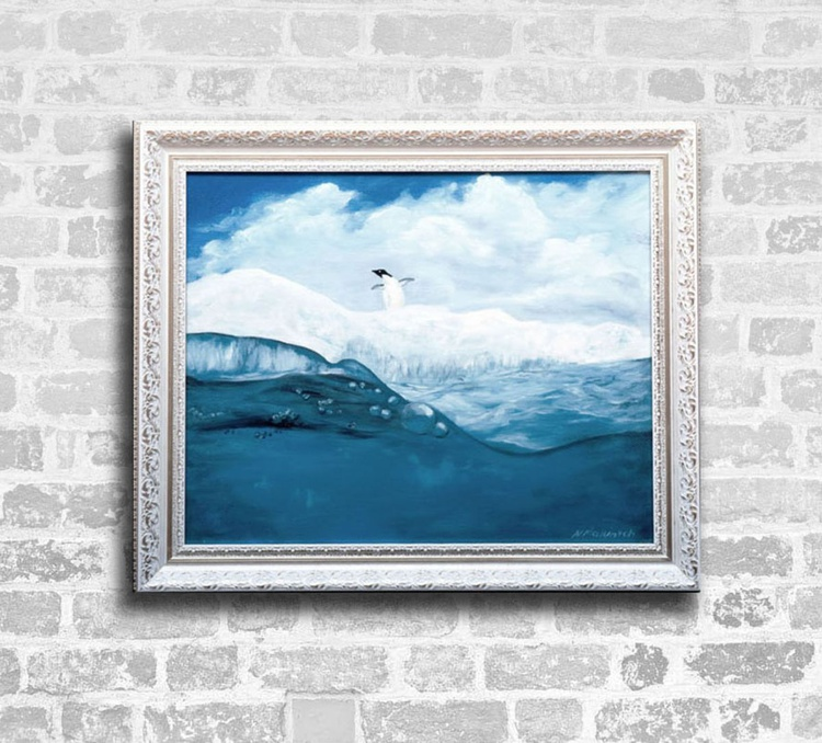 Oil painting, PINGUIN, LONELY, OCEAN - Image 0