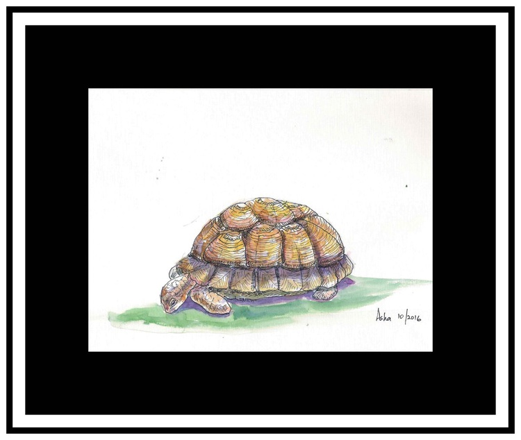 """Life at slow pace is tough- 9.25""""x 7"""" Ink and wash - Image 0"""