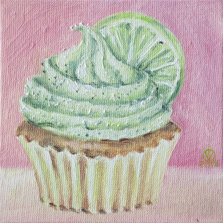 Lime Muffin (10x10 cm) original oil painting little still life yummy realistic small gift kitchen decor - Image 0