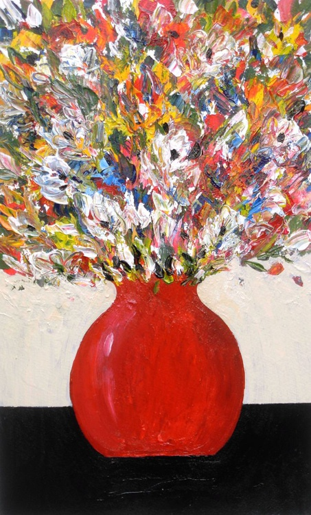 Summer Flowers in a Red Vase - Image 0