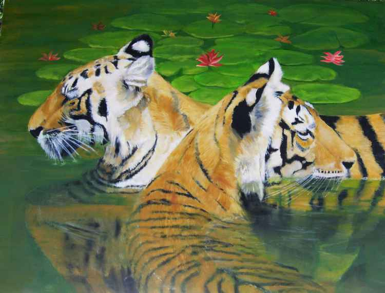 Coolin' It in a Jungle Jacuzzi - Original Painting -
