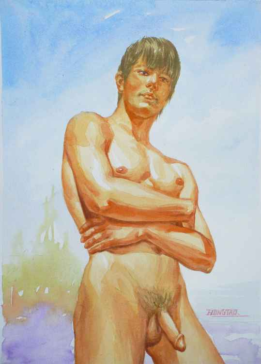 ORIGINAL CLASSICAL WATERCOLOR PAINTING ART MALE NUDE  MEN  BOY ON PAPER#12-21-010