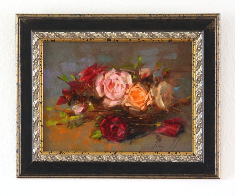 Roses Original oil Painting Handmade art Painting  Framed One of a Kind Ready to Hang - Image 0
