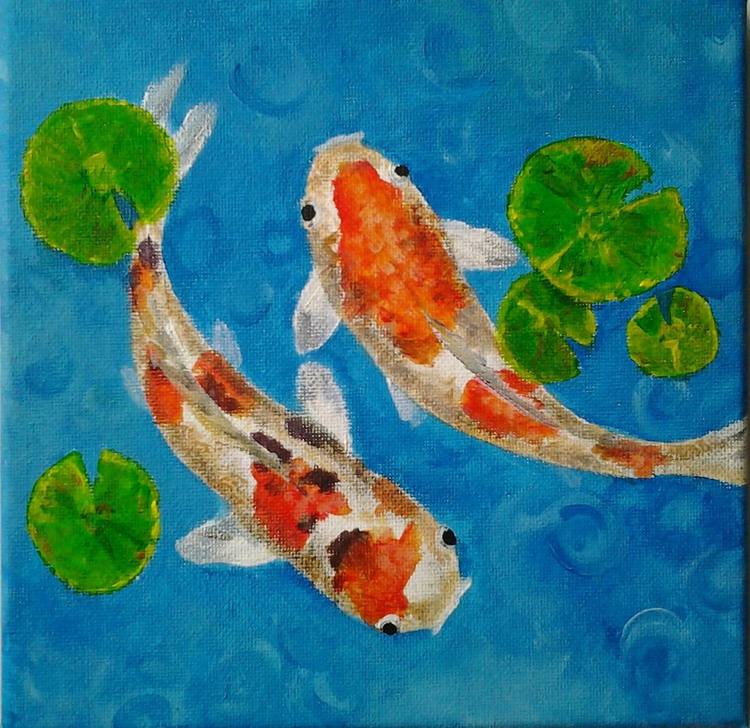"""Koi"", acrylic on 20x20cm canvas. Ready to hang - Image 0"