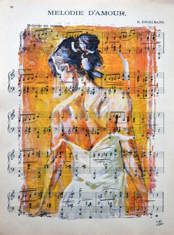 Ballerina on the Vintage Music Sheet - Image 0