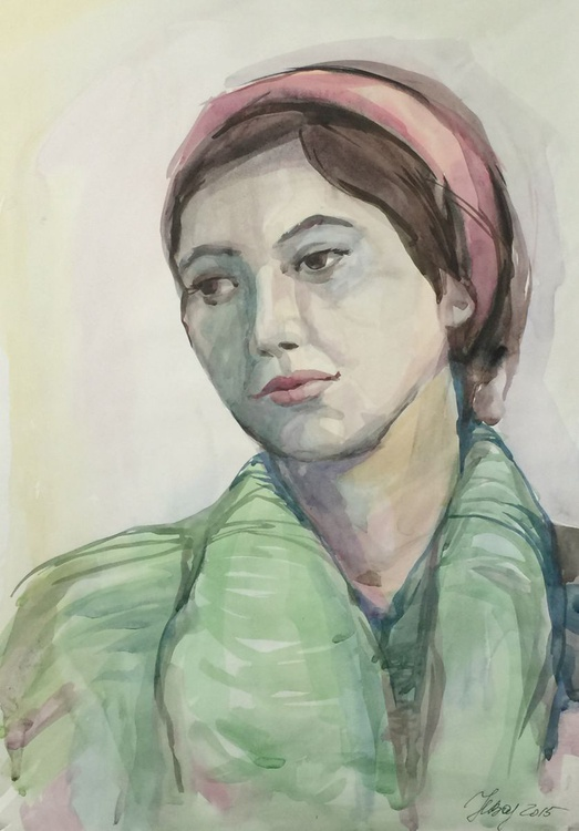 Lady in pink scarf - Image 0