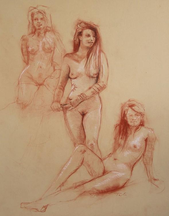 Three Nudes in Sanguine and Sepia - Image 0