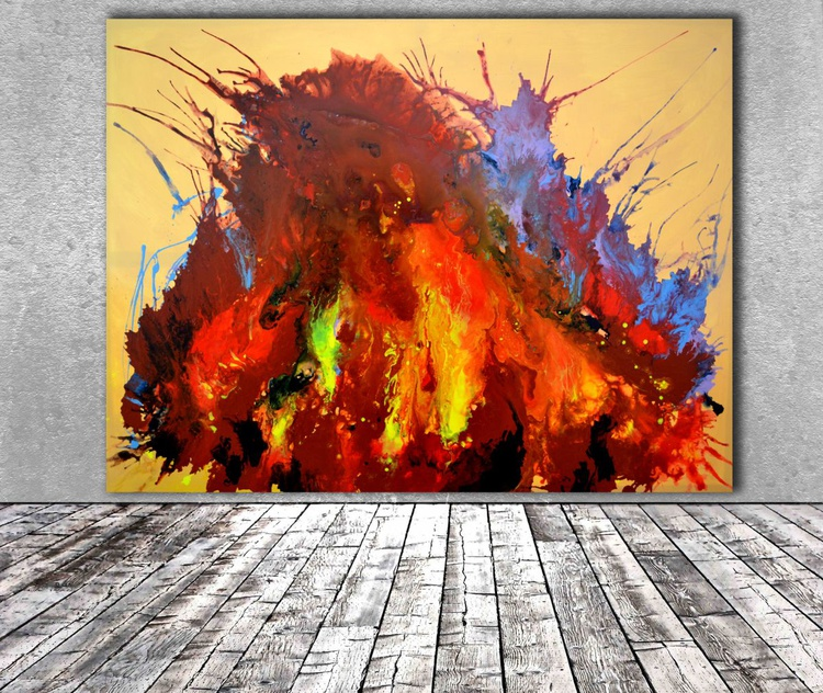 Burning Inside XXXL Huge Modern Abstract Big Painting, FREE SHIPPING for Europe - Large Painting - Ready to Hang, Hotel and Restaurant Wall Decoration, Fire Energy - Image 0