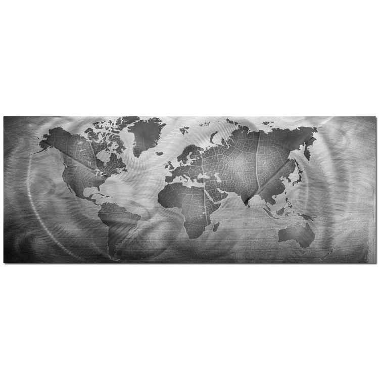 Monochrome Land & Sea | World Map Minimalist Art, Giclée on Metal -