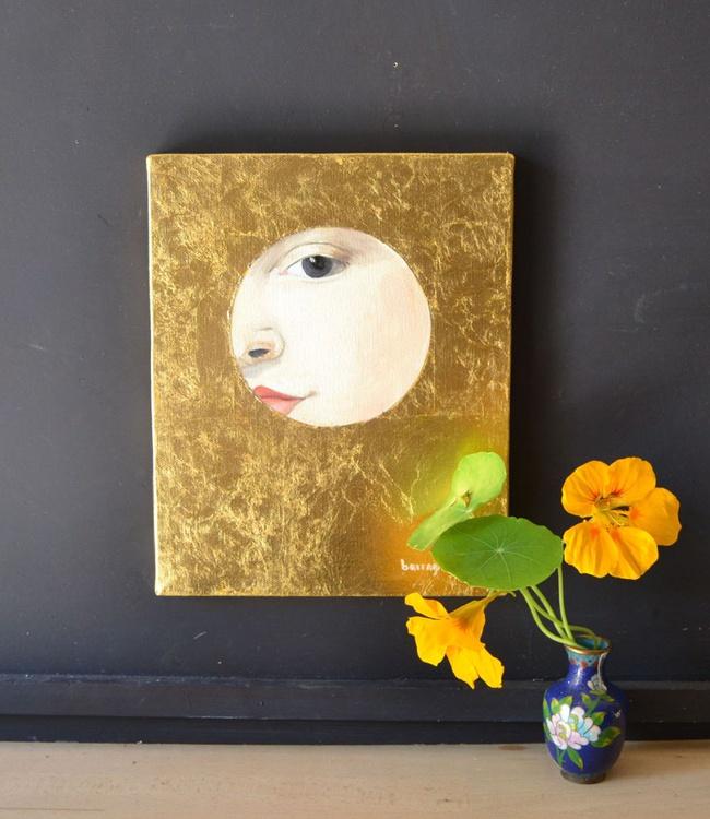 The Golden Looker n.3 Gold Leaf Female Portrait Oil Painting - Image 0