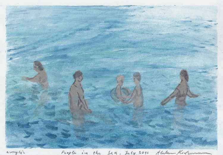 People in the Sea I, July 2016, acrylic on paper, 20 x 28,6 cm -