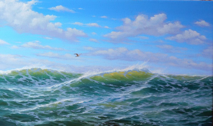 Waves, Original oil on canvas/Free Shipping - Image 0