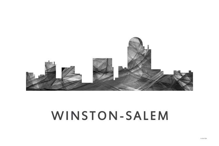 Winston Salem North Carolina Skyline WB BW