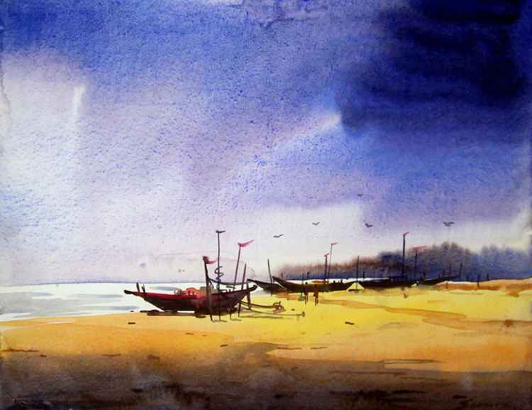 Fishing Boat and Monsoon day-Watercolor on Paper -