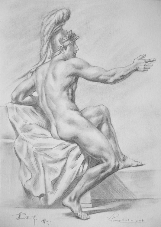 original art drawing pencil male nude on paper #16-9-8 - Image 0
