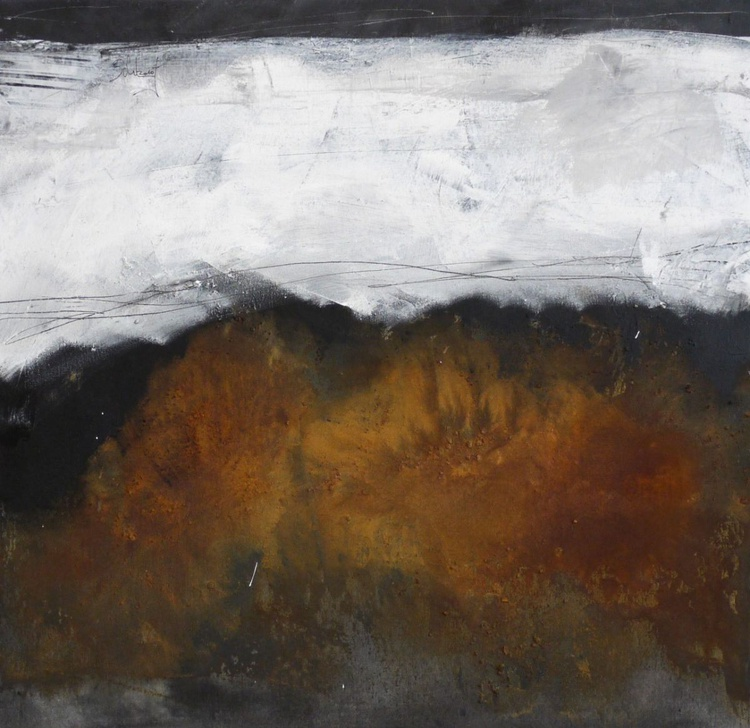 Rusted | square abstract | 60x60cm | grey white amber russet rust - Image 0