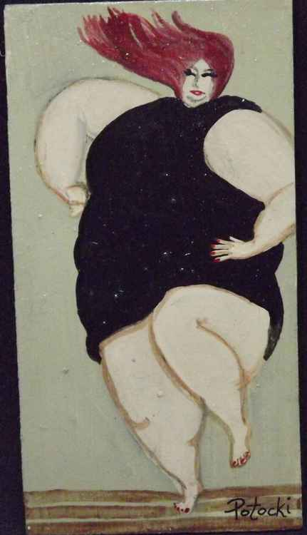 BBW Little Black Dress Dancer Original Painting on Wood -