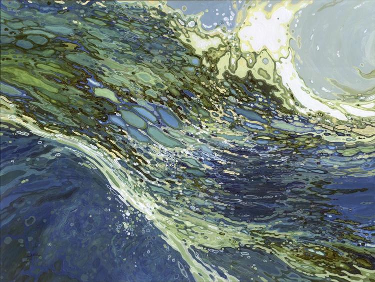 """Ebb & Flow Wave Under Water Landscape 36 x 48"""" Framed - Image 0"""