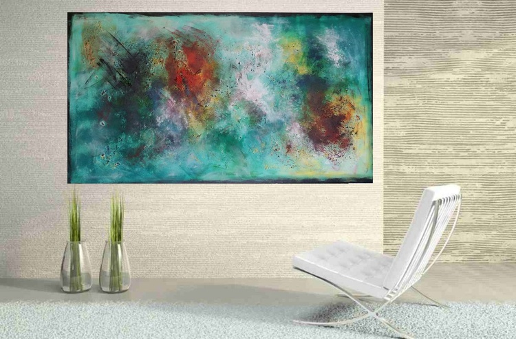 51''x29'',BREAKING DAWN,  extra large abstract painting, urban art, large canvas art,  green shades - Image 0