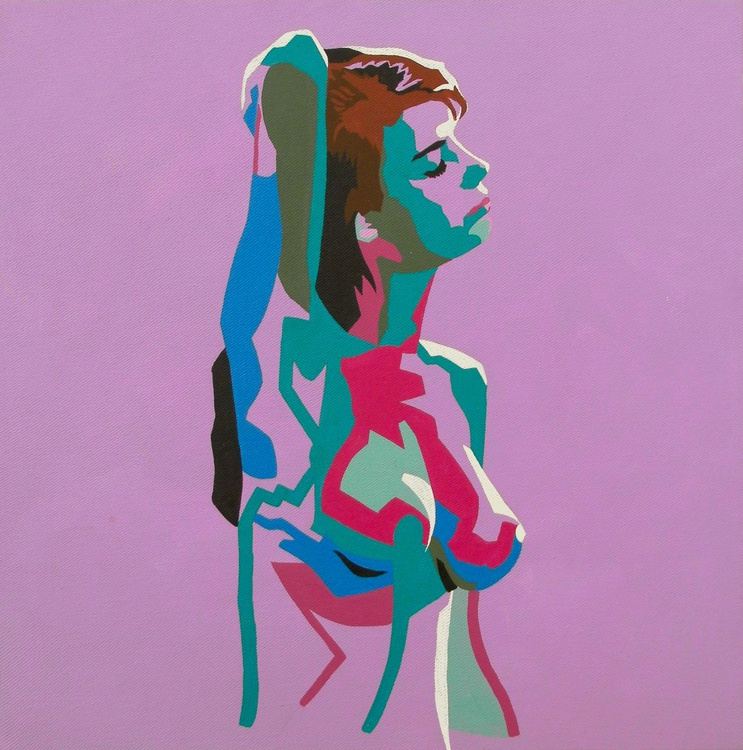 Female Nude Original Acrylic Painting Standing Nude On Lilac - Image 0