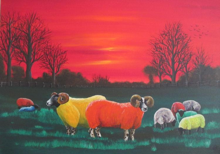 Rainbow Flock , Large Limited Edition Print - Image 0