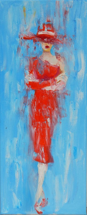 Woman in red - Image 0