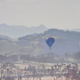 """April 09, hot air balloon in the morning light, 2016"" by Anne BAUDEQUIN"