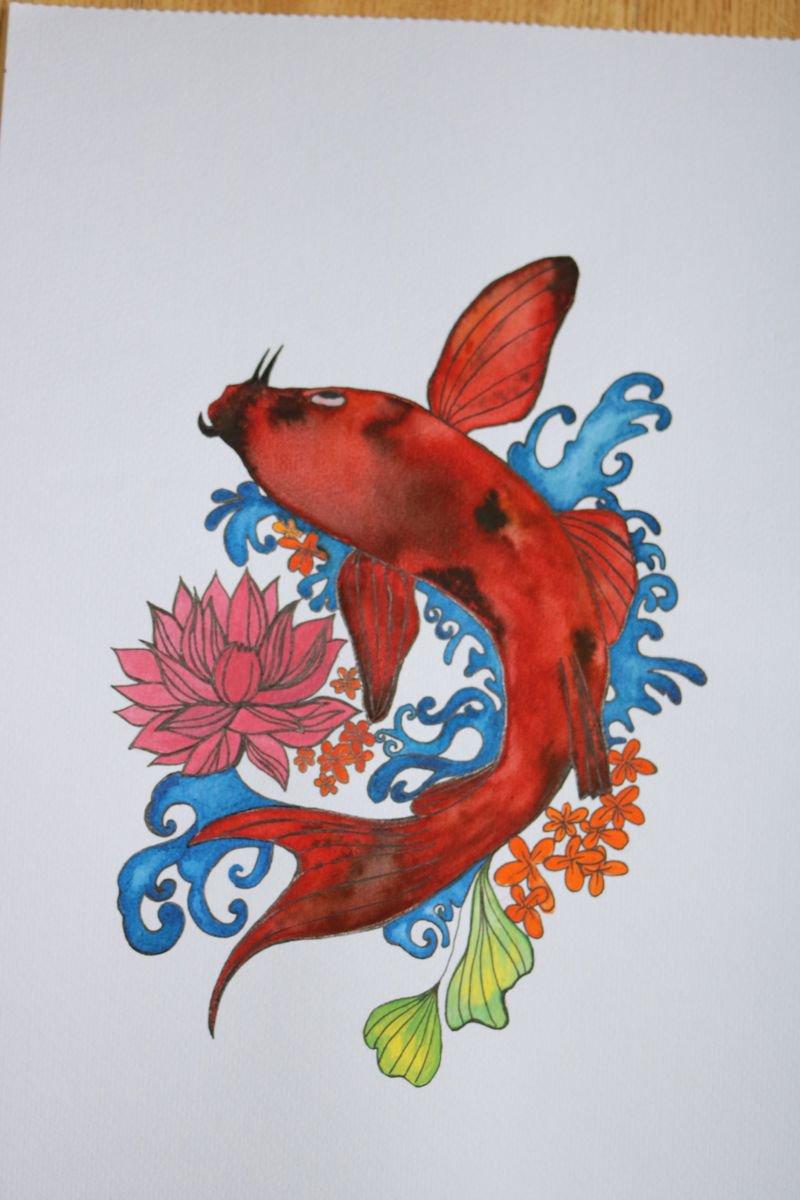 KOI FISH Watercolour by Harshitha | Artfinder