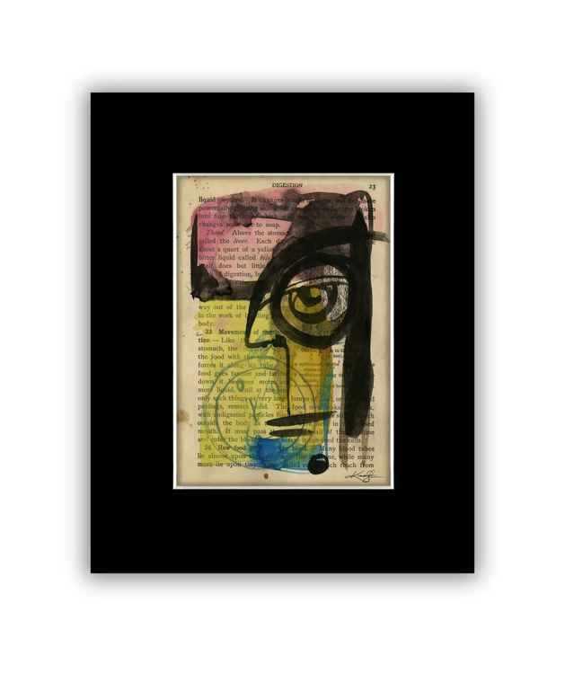 """I See 10"" on Antique Book Page - Abstract Watercolor Painting -"