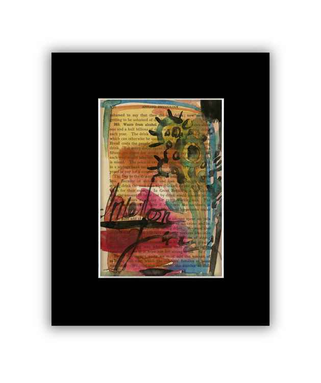 Abstract 9 on Antique Book Page - Abstract Watercolor Painting -