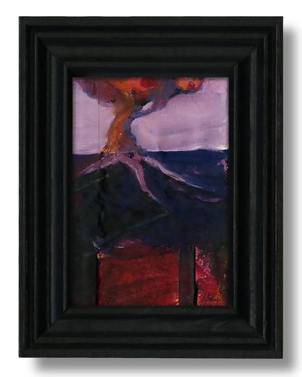 Lone Tree - Framed Miniature Abstract Landscape Painting - Image 0
