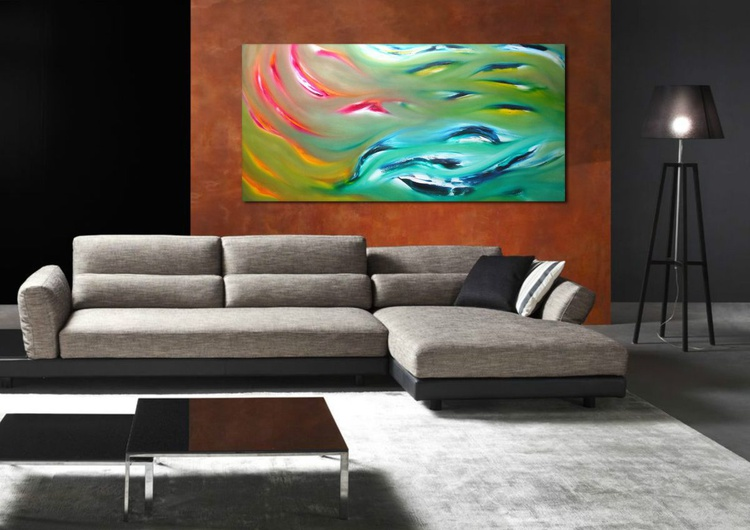 Dolphins - 120x60 cm, Original abstract painting, oil on canvas - Image 0