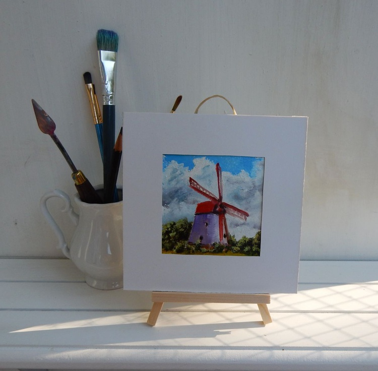 Wind mill in Holland. Landscape Miniature. Easel is included. Gift painting. Ready to hang. - Image 0
