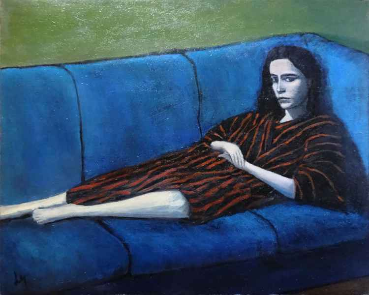Girl on the blue couch