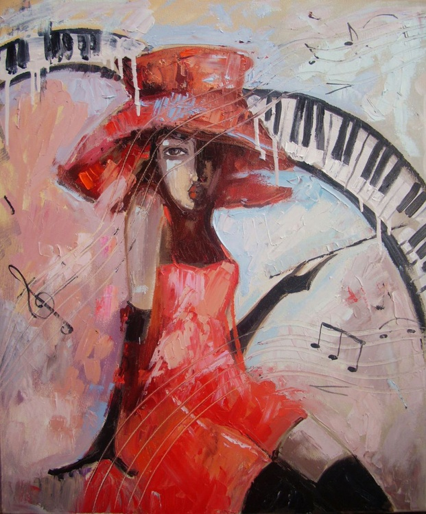 """"""" JAZZ MUSIC  """" - original oil painting on canvas, gift, PALETTE KNIFE - Image 0"""