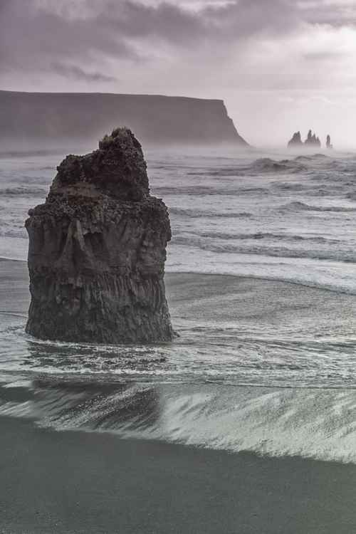 Looking towards the stone trolls near Vik in Iceland. -
