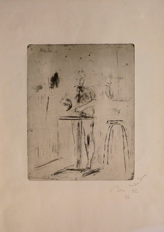 Cooking in the kitchen, engraving from copper plate 31x43 cm - Image 0