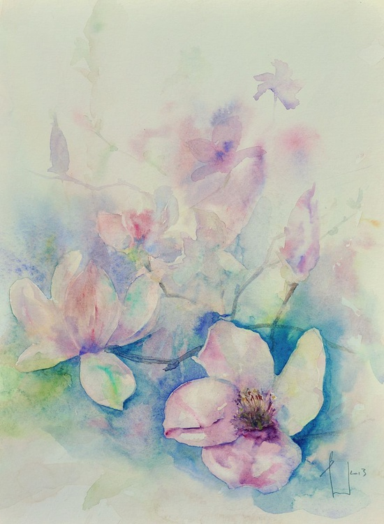 MAGNOLIA original watercolour 30x40 - Image 0
