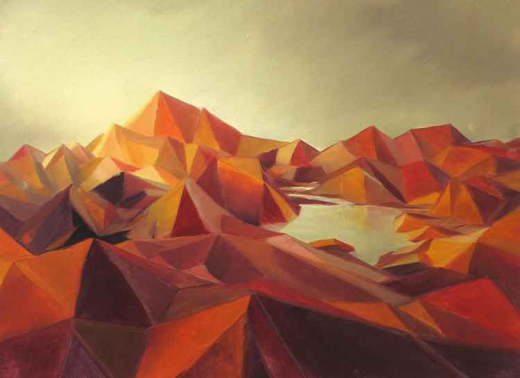 Red Mountains Low Poly -